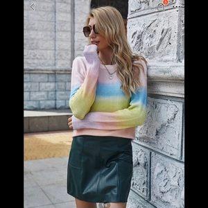 Crew Neck Rainbow Sweater sz M